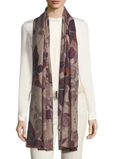 Loro Piana Cashmere Stola Amaryllis Floral Pattern Soft Air Scarf