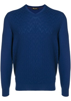 Loro Piana cashmere textured V-neck sweater - Blue