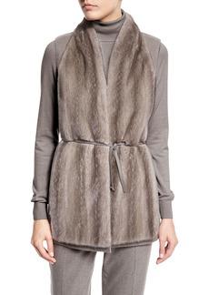 Loro Piana Double-Cashmere Vest W/Mink Front