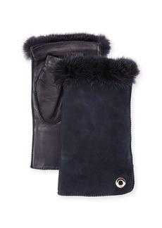 Loro Piana Jacqueline Fingerless Gloves w/ Fur-Trim
