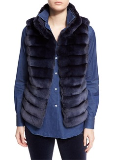 Loro Piana Jayden Horizontal-Stripe Chinchilla Vest