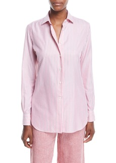 Loro Piana Kara Button-Down Striped Oxford Shirt