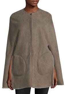Loro Piana Lamb Fur-Fringed Leather Shorty Cape