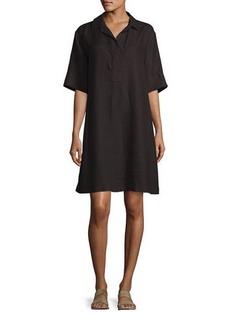 Loro Piana Lucy Collared Half-Sleeve Linen Shift Dress