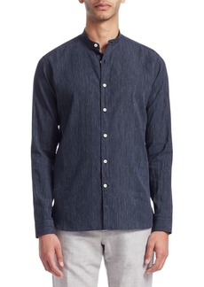 Loro Piana Mandarin Collar Stripe Shirt