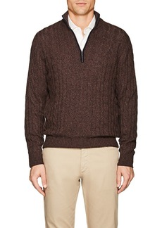 Loro Piana Men's Cable-Knit Cashmere Half-Zip Sweater