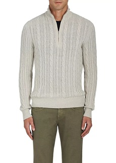 Loro Piana Men's Cable-Knit Cashmere Quarter-Zip Pullover