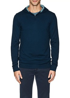 Loro Piana Men's Contrast-Detailed Silk-Cashmere Half-Zip Hoodie