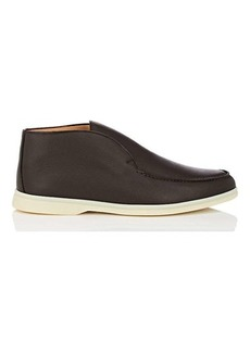 Loro Piana Men's Open Walk Leather Laceless Chukka Boots