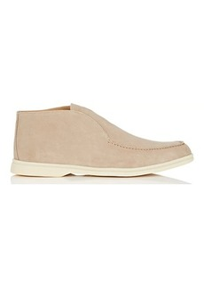 Loro Piana Men's Open Walk Suede Laceless Chukka Boots