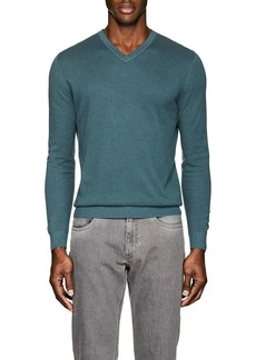 Loro Piana Men's Textured Cotton-Blend V-Neck Sweater