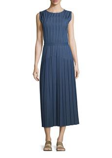 Loro Piana Mrytle Sleeveless Pleated Stitched Denim Ankle Dress