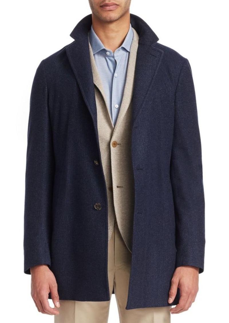 Loro Piana Notch Cashmere Short Coat Outerwear With Hood