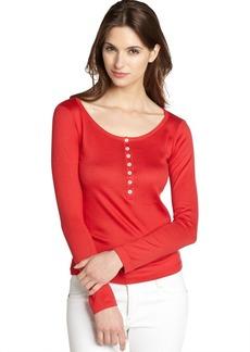 Loro Piana red cotton knit long sleeve henl...