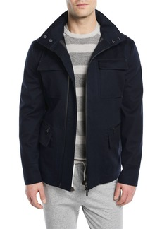 Loro Piana Shieldly Twill Field Jacket with Pack-Away Hood