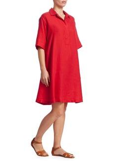 Loro Piana Short Sleeve Linen Shirt Dress