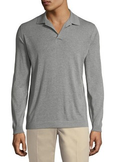 Loro Piana Split-Neck Long-Sleeve Polo Shirt