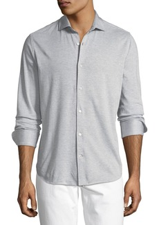 Loro Piana Striped Jersey Sport Shirt