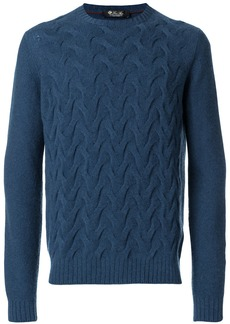 Loro Piana textured weave jumper - Blue