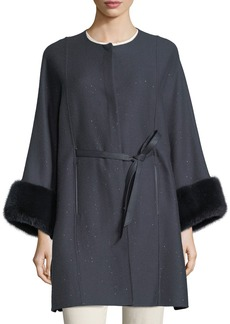 Loro Piana Upper East Midnight Baby Cashmere-Bland Cape w/ Fur Cuffs