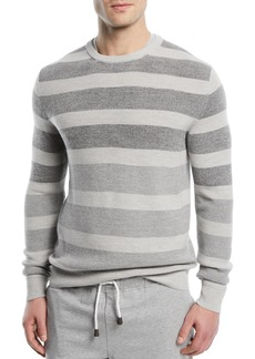 Loro Piana Wool/Silk Striped Crewneck Sweater