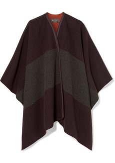 Loro Piana Mantella Esme Leather-trimmed Striped Cashmere Cape