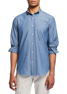 Loro Piana Men's Alfred Chambray Sport Shirt