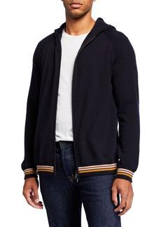 Loro Piana Men's Cashmere Zip Hoodie Sweater with Stripes