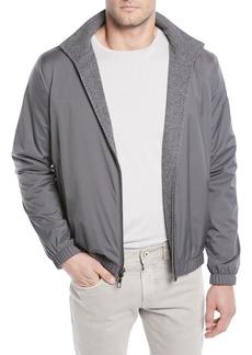 Loro Piana Men's Duo Cashmere Reversible Bomber Jacket