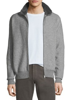 Loro Piana Men's Fur-Trim Cashmere Bomber Cardigan Sweater