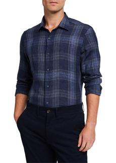 Loro Piana Men's Large-Plaid Linen Sport Shirt