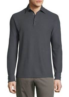 Loro Piana Men's Long-Sleeve Pique Polo Shirt