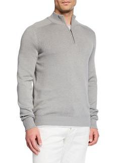 Loro Piana Men's Silk-Blend Quarter-Zip Sweater