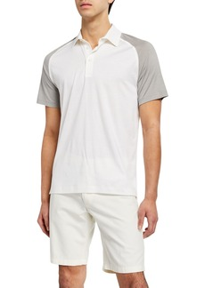 Loro Piana Men's Two-Tone Silk/Cotton Jersey Polo Shirt
