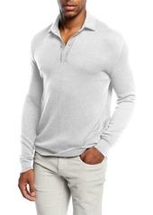 Loro Piana Piqué Long-Sleeve Polo Sweater