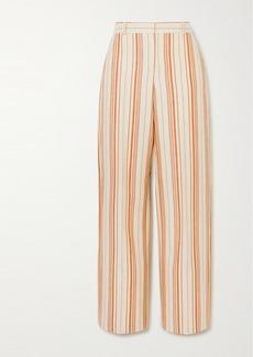 Loro Piana Striped Cotton-blend Straight-leg Pants