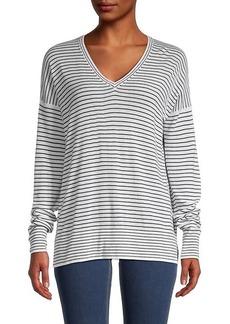 Loro Piana Striped V-Neck Cashmere Sweater