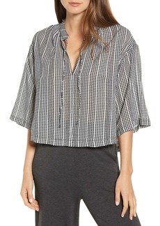 Lou & Grey Dobby Tie Neck Top