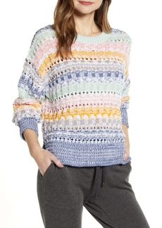 Lou & Grey Fringe Stripe Crewneck Sweater