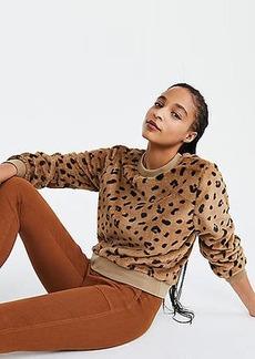 Lou & Grey Leopard Print Faux Fur Sweatshirt