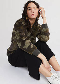 Lou & Grey Camo Faux Fur Sweatshirt