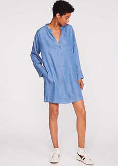 LOFT Lou & Grey Chambray Split Neck Pocket Dress