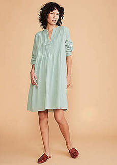 LOFT Lou & Grey Pintucked Split Neck Shirtdress