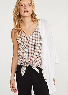 Lou & Grey Plaid Tie Front Tank