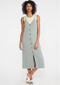 LOFT Ponte Button Down Slip Dress