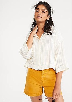 Lou & Grey Stripe Boucle Cropped Shirt