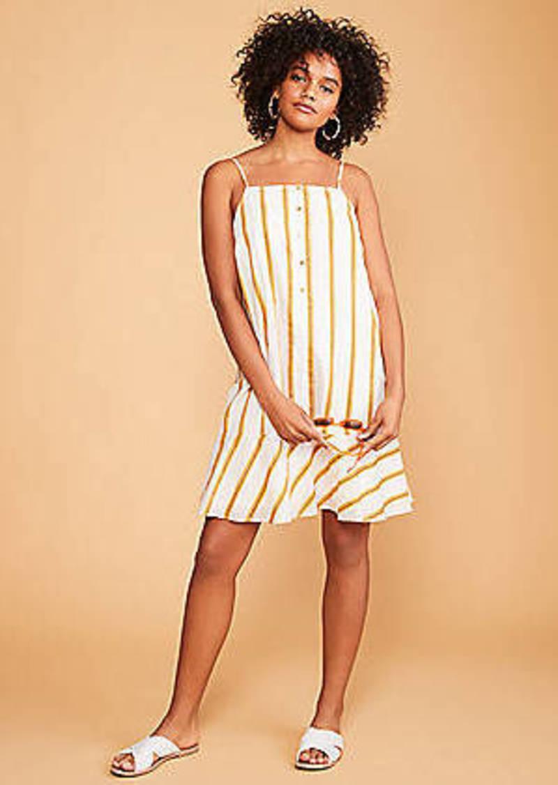 LOFT Lou & Grey Striped Button Flounce Dress