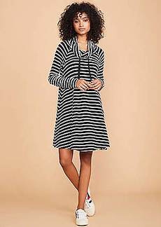 LOFT Lou & Grey Striped Signaturesoft Drawstring Cowl Dress