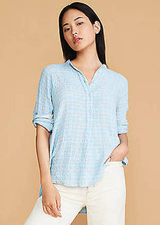 Lou & Grey Plaid Crinkle Henley Tunic Shirt