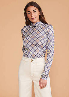 Lou & Grey Plaid Silky Jersey Turtleneck